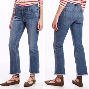 Old Navy Womens Flare Ankle Jeans with Raw Hem